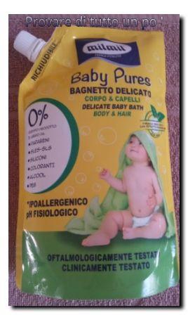 Il bagnetto delicato Mil Mil Baby Pures deterge a fondo corpo e capelli rispettandone il loro naturale equilibrio ed è addatto all'uso quotidiano.