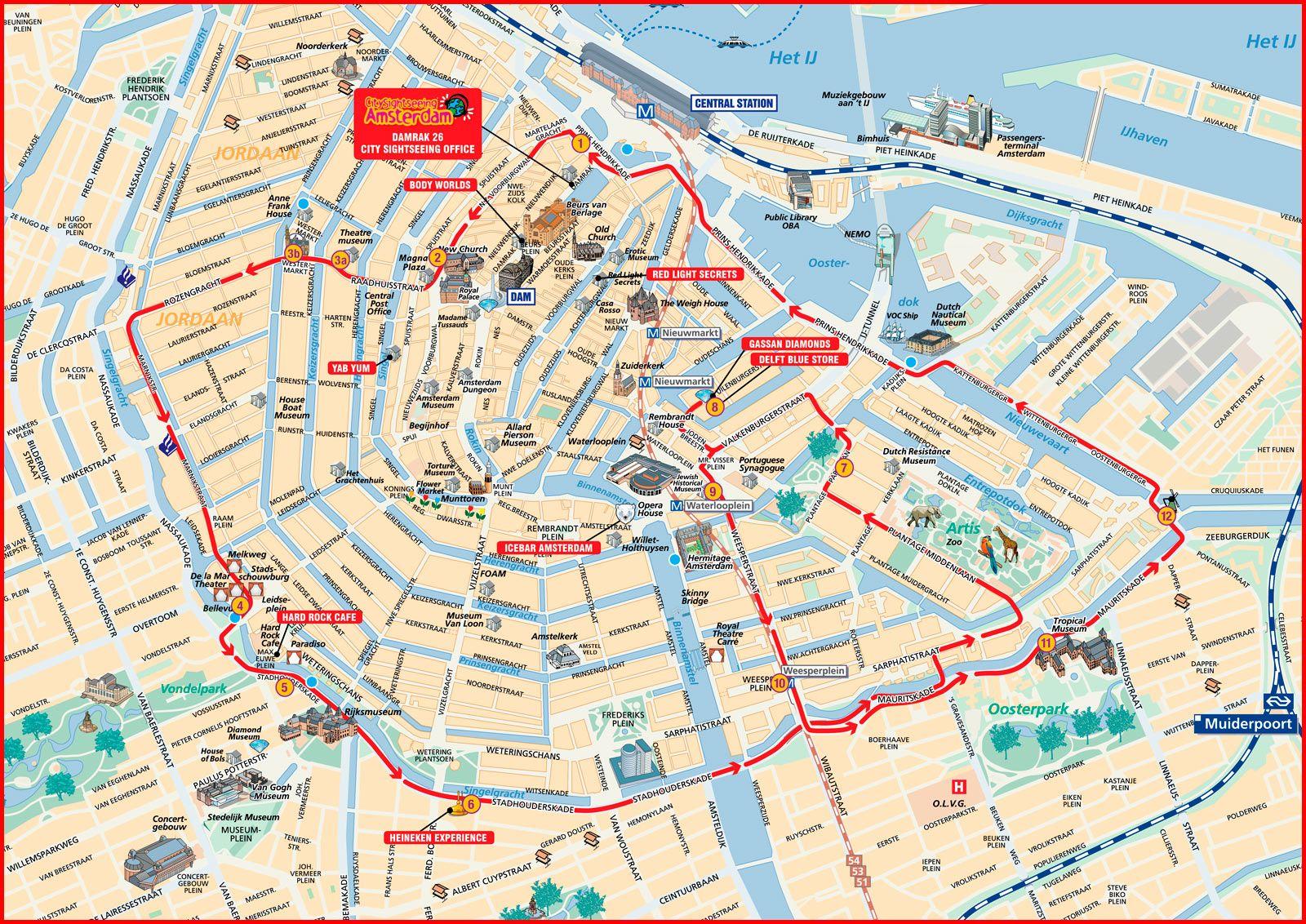 Amsterdam Hop On Hop Off map