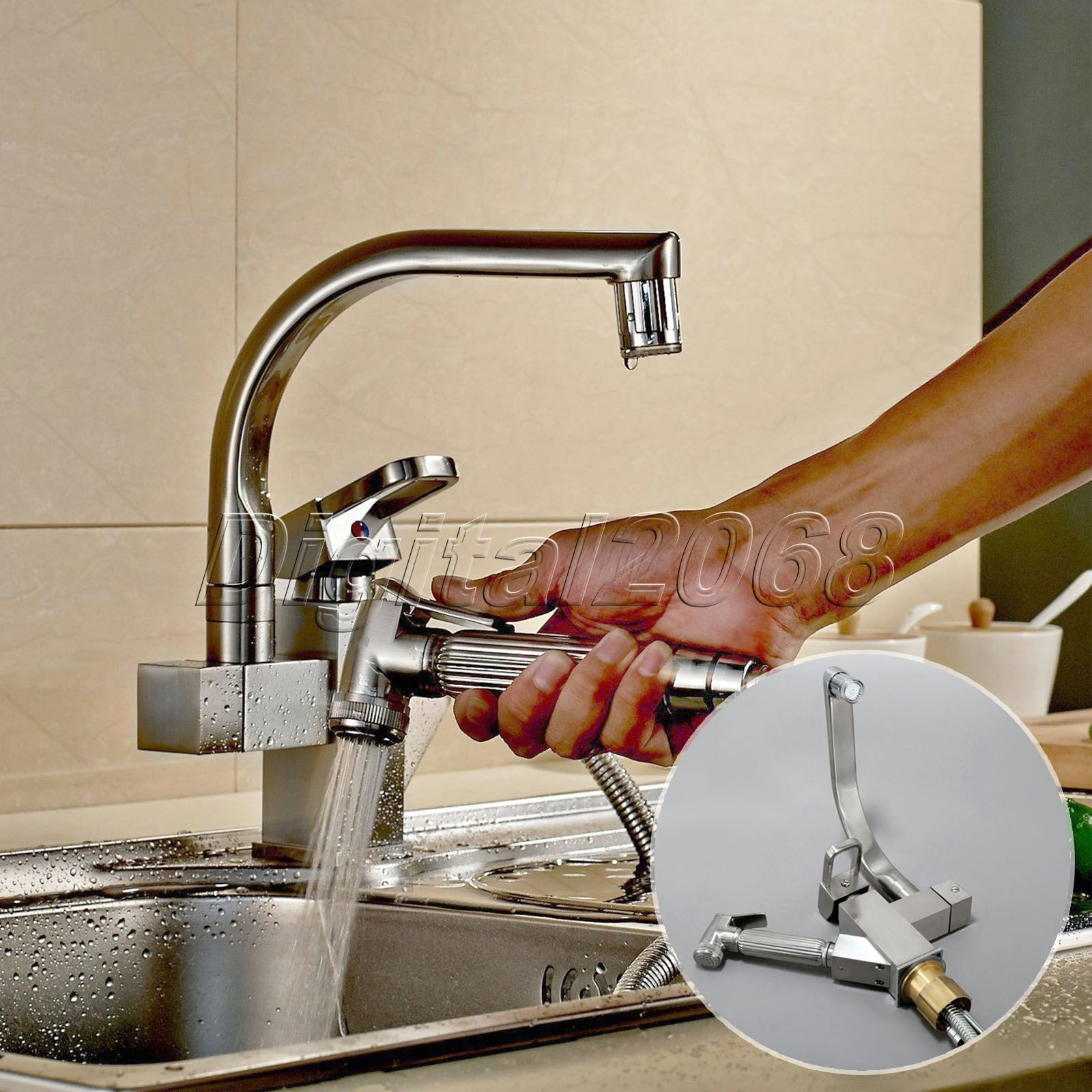 Reviews Deck Mounted Faucet LED Blue/Green/Red Brushed Nickel Pull ...