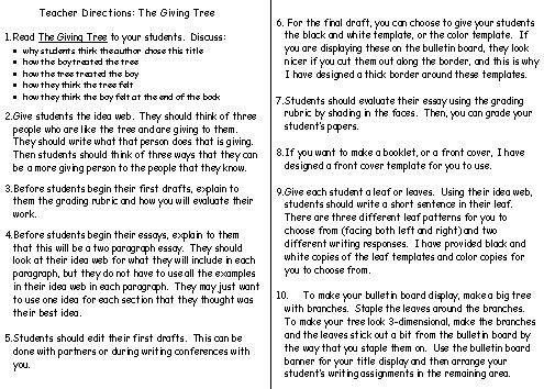 The Giving Tree Lesson Plans Shel Silverstein  Teacher Creative