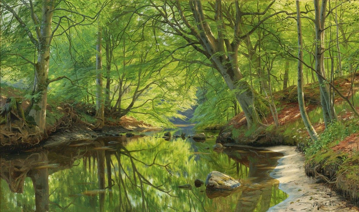 PEDER MORK MONSTED - Riacho na floresta   Óleo sobre tela - 74 x 123 - 1893       JOÃO BATISTA DA COSTA - Caminho da roça   Óleo sobre te...