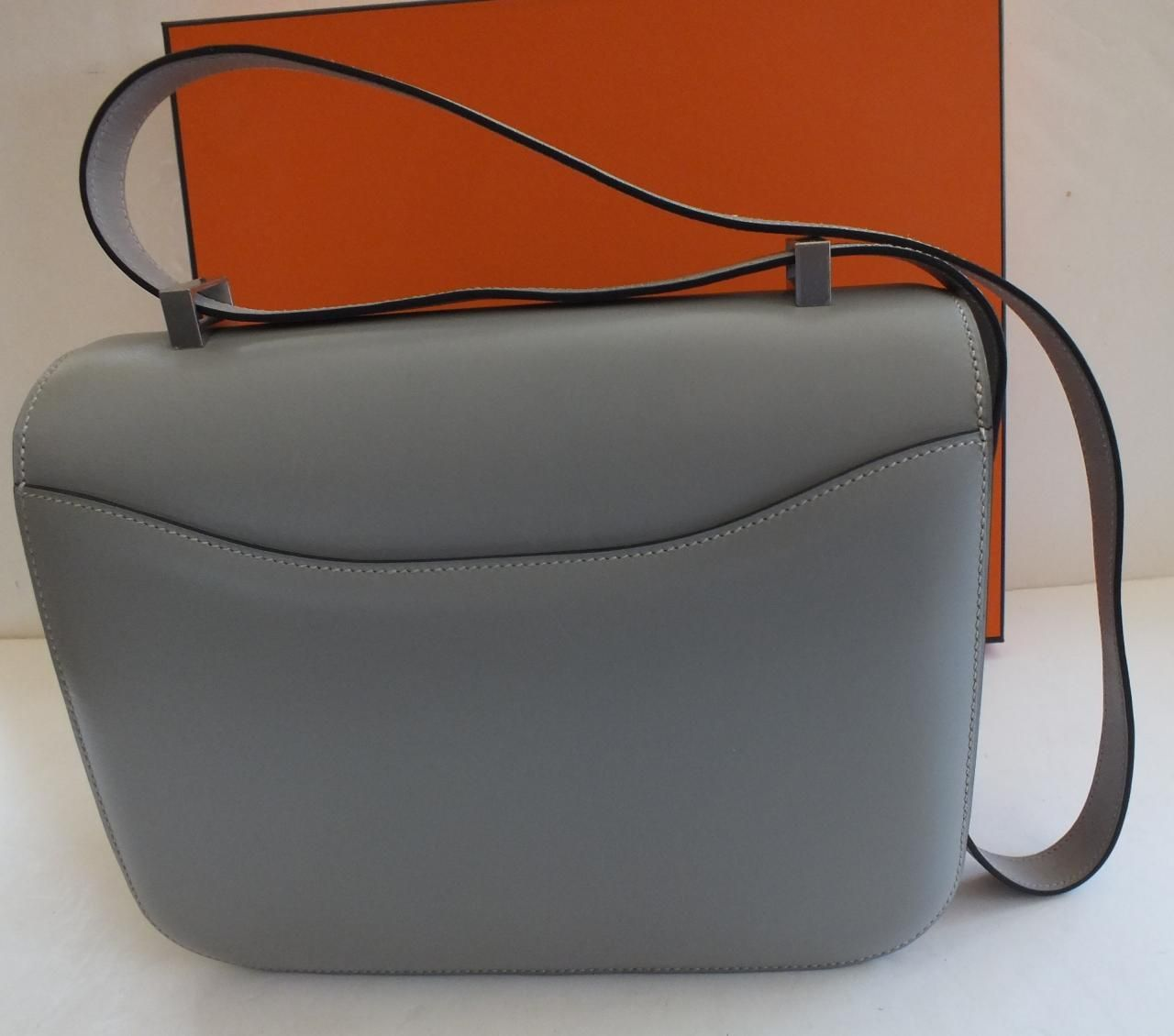 Hermes Constance 25 cm Gray Box Brushed Silver Hardware
