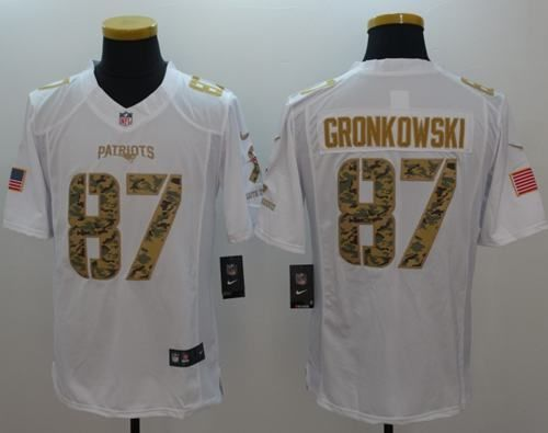 Nike Patriots  87 Rob Gronkowski White Men s Stitched NFL Limited Salute to  Service Jersey. Patriots 87New England ... 0a9313470