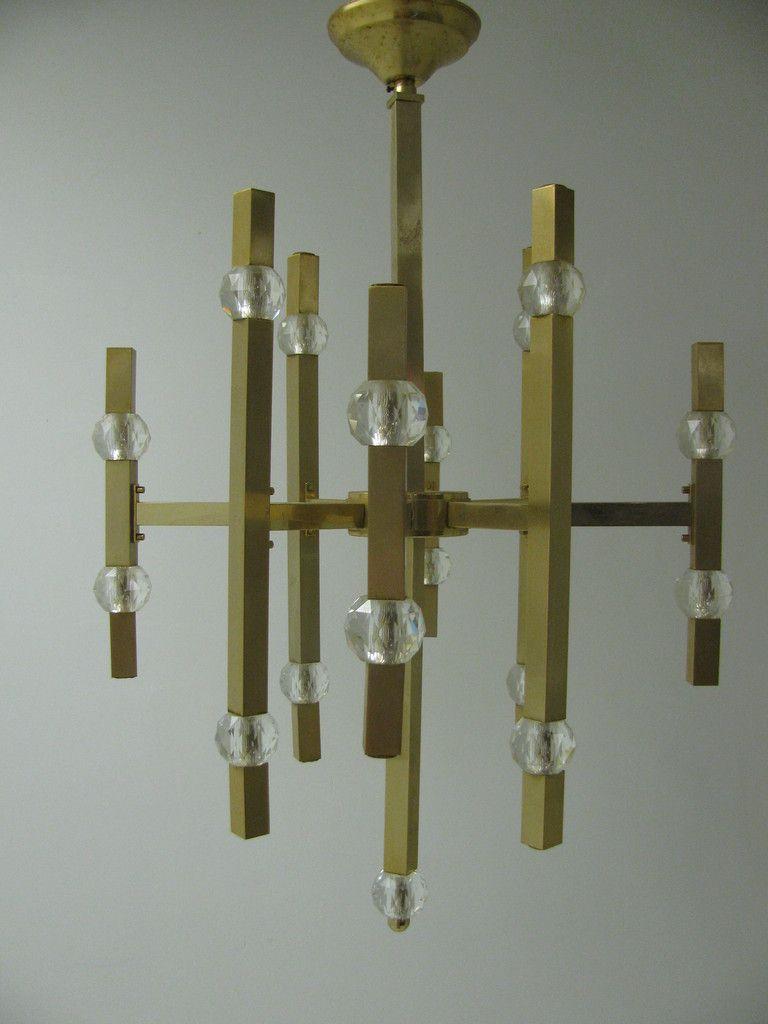 Gaetano sciolari satin brass and crystal chandelier satin modern