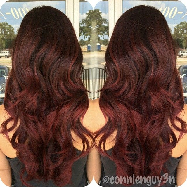 Dark Brown To Marsala Ombre Hair Balayage Freshened Up Her Color All Over With A Violet Red Hair Color Auburn Hair Styles Ombre Hair