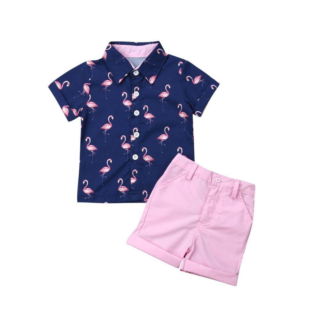 Newborn Infant Toddler Baby Girl Flamingo Print Short Sleeve Ruffle T-Shirt Tops Dress+Ruffle Shorts Pants Outfit Set