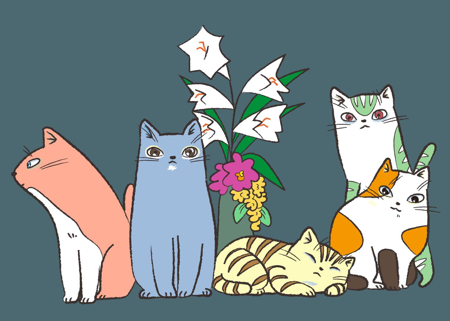 よりそう5匹のネコ イラスト | gogon's magazine | pinterest | ネコ