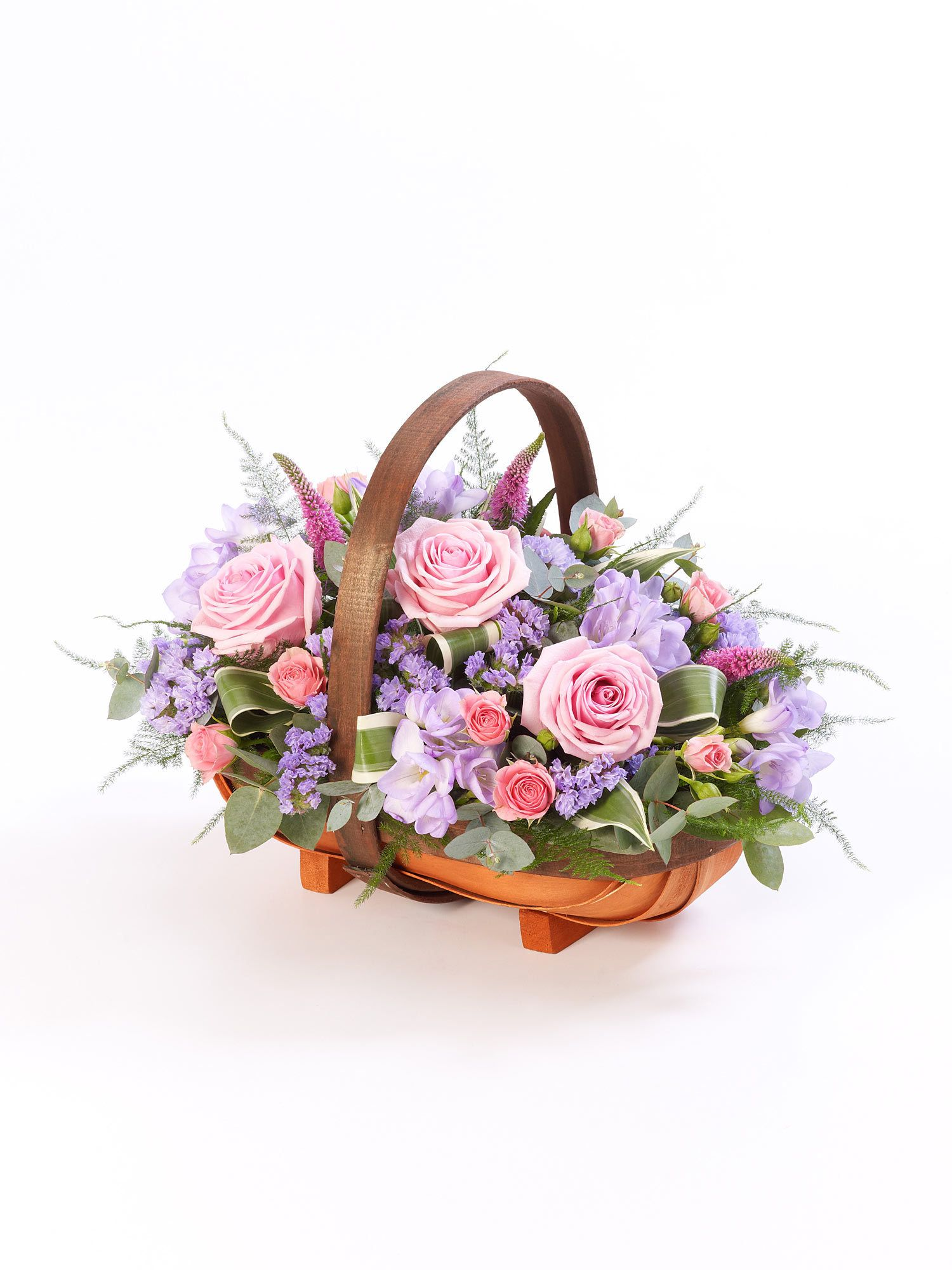 Mixed Basket Pink and Lilac Interflora Funeral