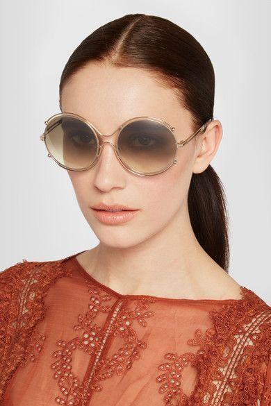 852e99649168 Chloé - Isidora Round-frame Gold-tone And Acetate Sunglasses ...