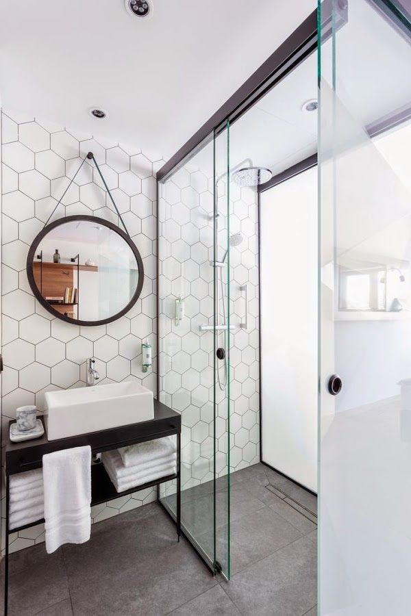 Duchas de obra con estilo dise o a medida ba os pinterest ba os cuarto de ba o y duchas - Baldosas hexagonales ...