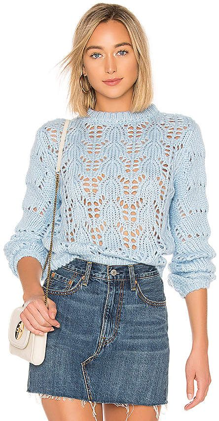 12ffe848b1b2 Tularosa Open Weave Sweater Baby Blue Colour, Jean Skirt, Denim Skirt, Open  Weave