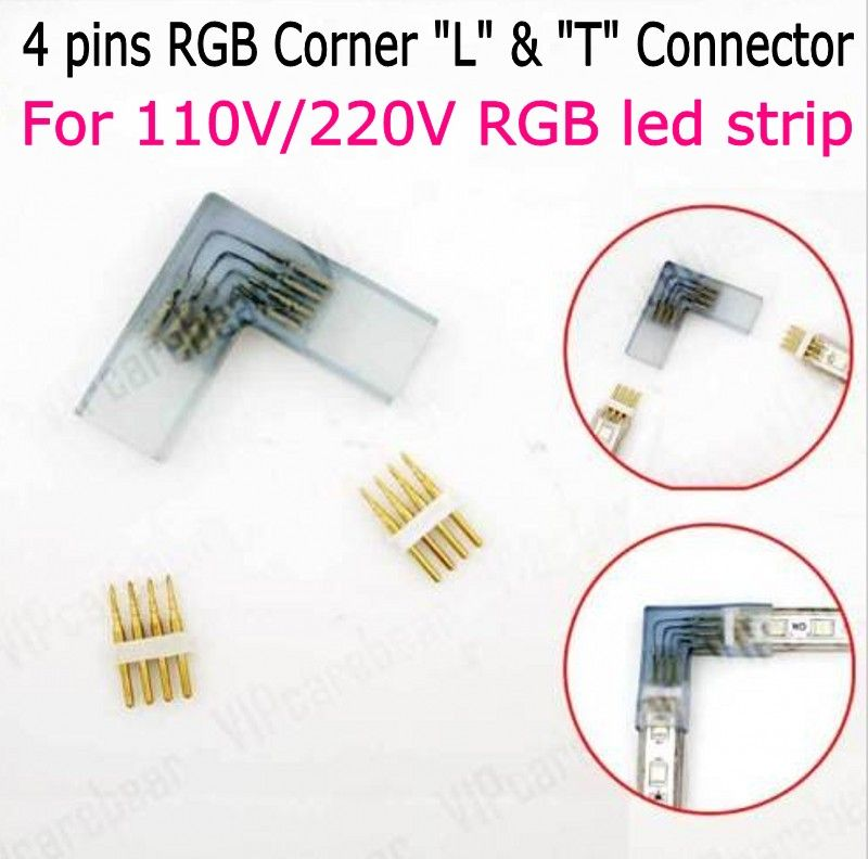 4 Pin L T Shape Rgb Corner Connector Middle With Copper Needle Connector For 110v 220v Led Strip 5050 3528 Rgb Connector Led Strip Led T Shaped