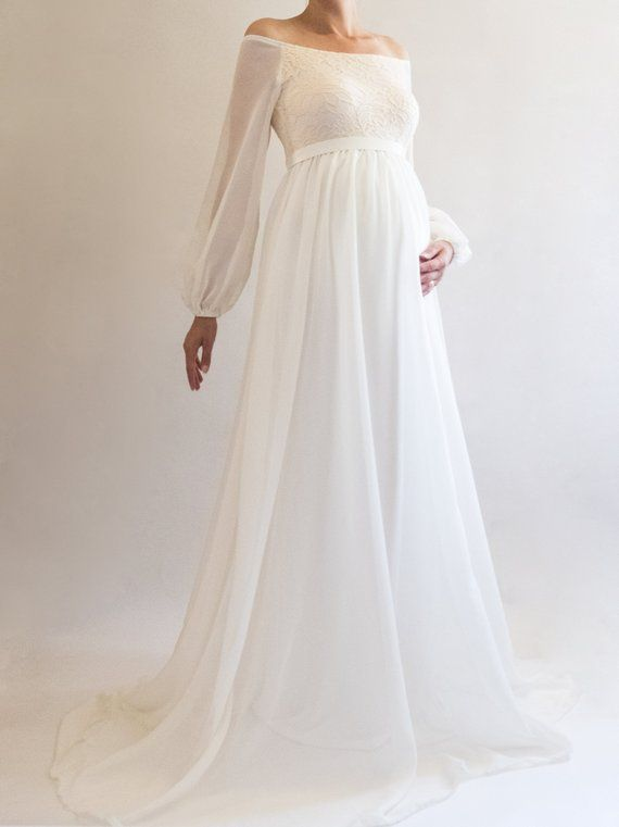 0e2b01297c0bc ANNABELLE Boho Wedding Dress Maternity Dress Bridesmaid | Loving this lace  and chiffon maternity dress! So perfect for a baby shower/wedding!