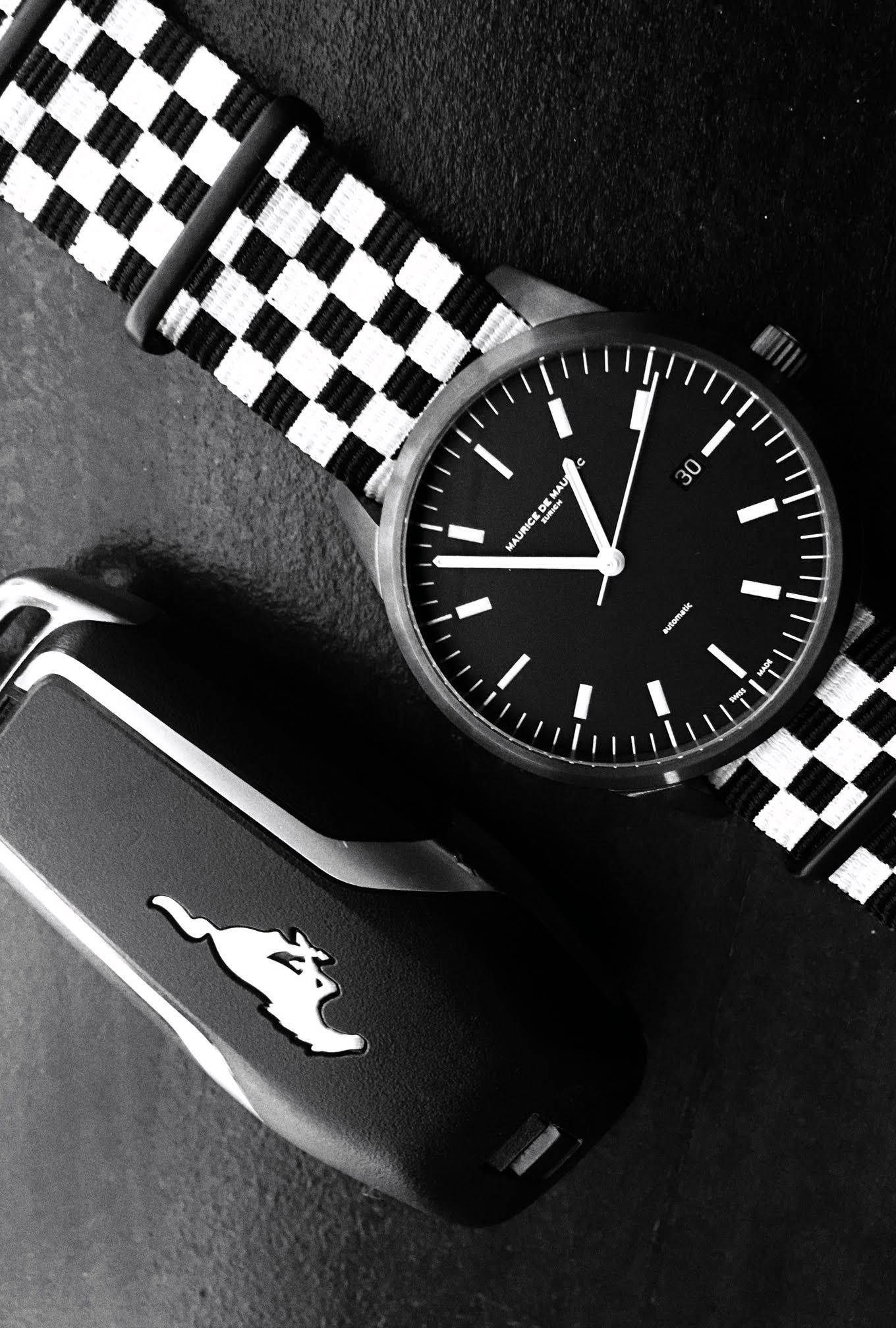 Amazing Maurice de Mauriac L1 timepiece with the Finish Flag Nato strap and a 2016 Mustang key. Luxury handmade watches for men and women.