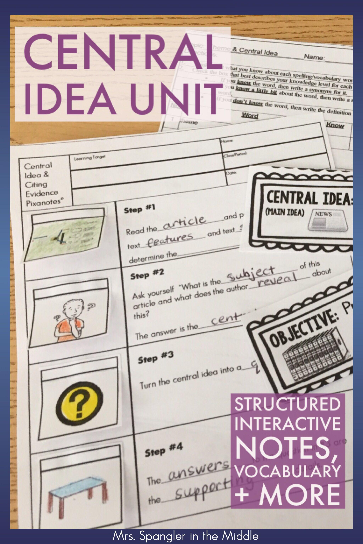 Central Idea Main Idea Central Message Unit Bundle