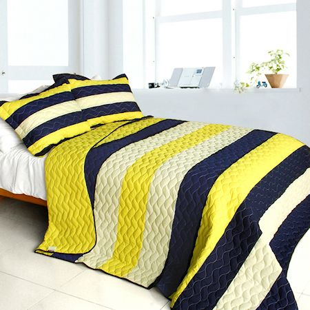 Navy Blue Yellow Striped Teen Boy Bedding Full Queen Quilt Set Cotton Bedspread Kidsroomstore
