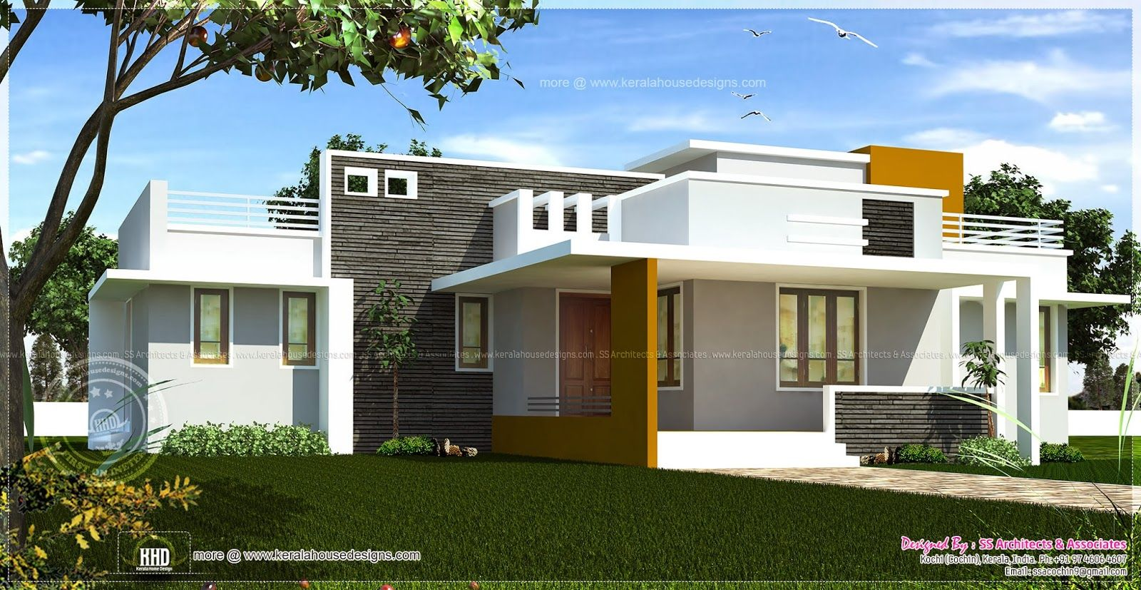 Excellent single home designs single floor contemporary for Kerala single floor house plans
