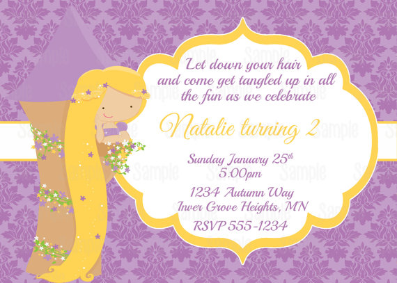 Printable Princess Rapunzel Birthday Party Invitation Plus FREE Blank Matching Thank You Card
