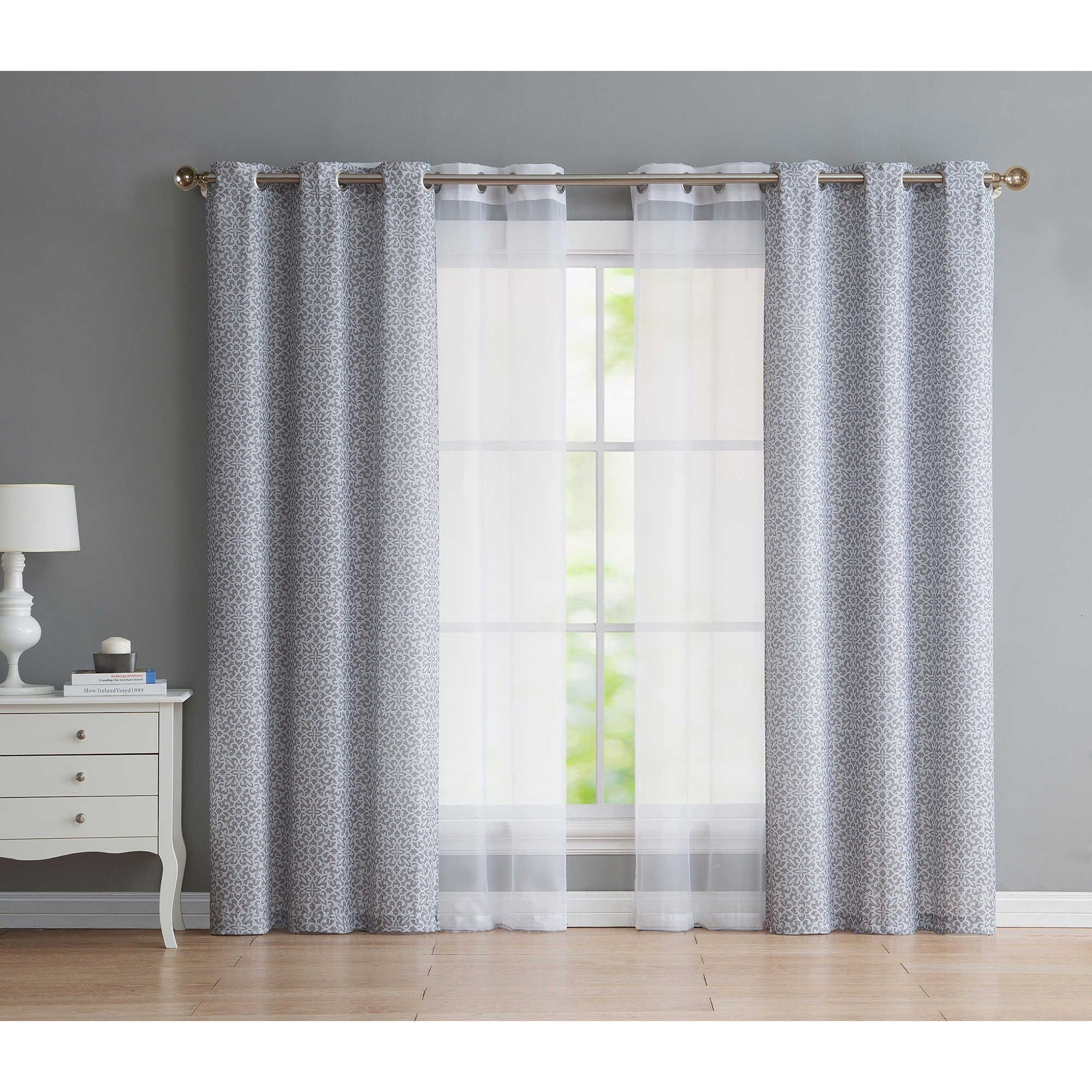 Vcny Estrada 95 Inch Grommet Window Curtain Panels In Grey Set Of 4 Living Room Decor Curtains Curtain Decor Curtains Living Room