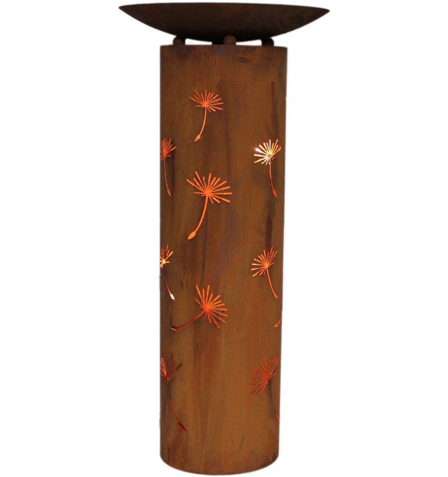 Rostsaule Mit Ausgelaserter Pusteblume Rund Mit Schale Als Set Kaufen Architectural Planters Decor Lamp