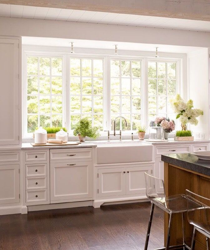beautiful white kitchen with large windows kitchen in 2019 farmhouse sink kitchen kitchen on kitchen decor over sink id=39093