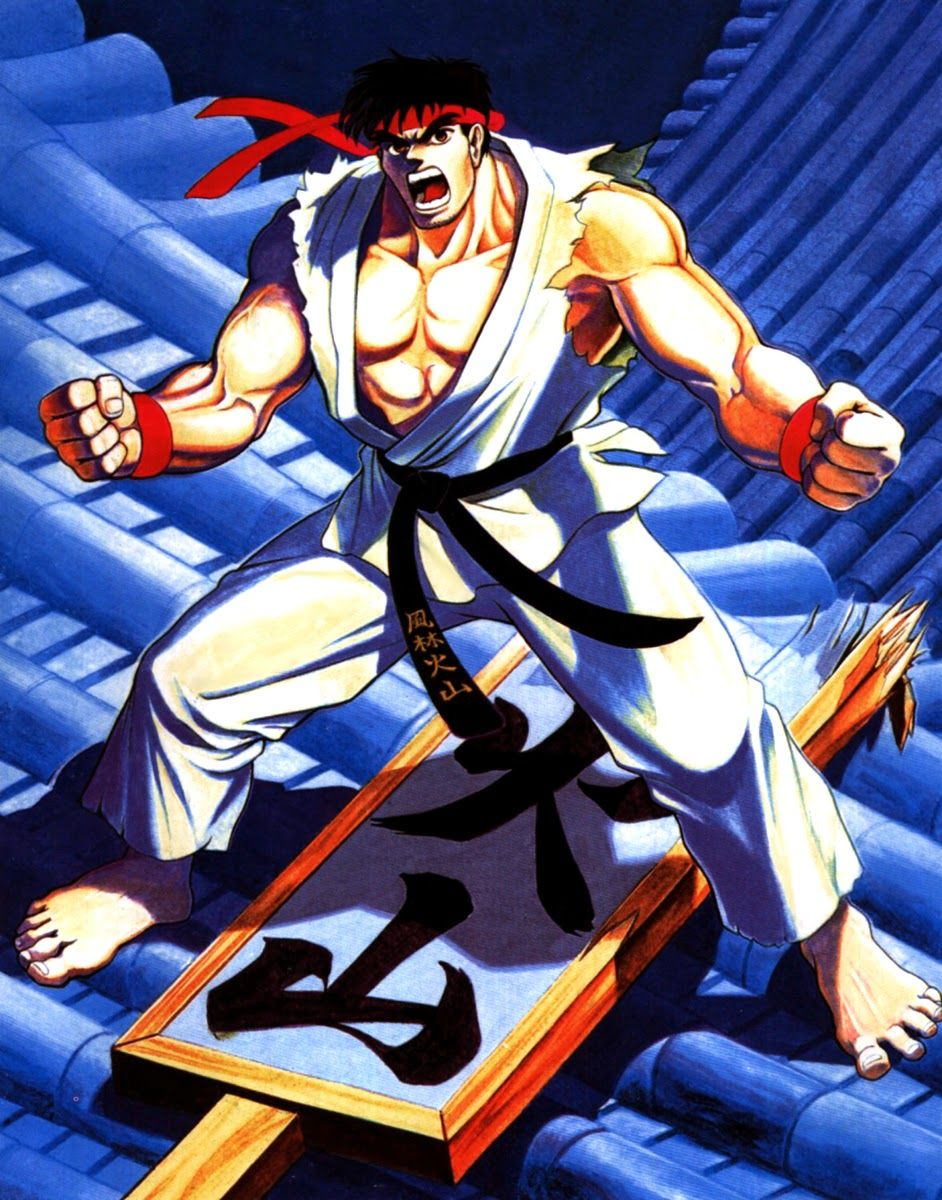 The Original Arcade Artwork For Ryu From Capcom S Street Fighter Ii Personnages Masculins Jeux Personnages