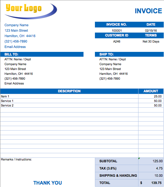 Free Excel Invoice Templates  Smartsheet  Matra Engineering