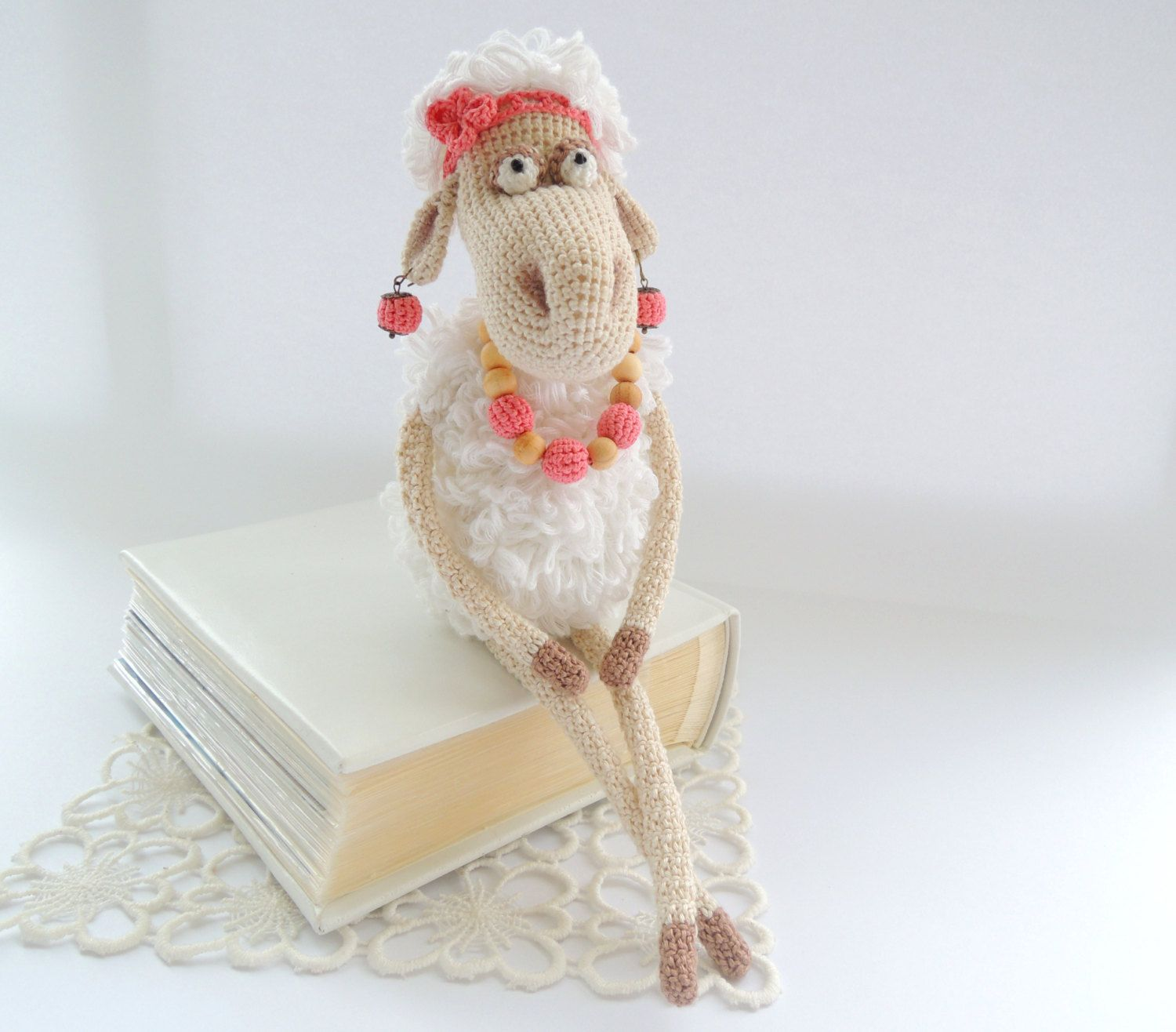 FREE SHIPPING Toy Mrs Lamb Sheep Cute stuffed animal Crochet kids