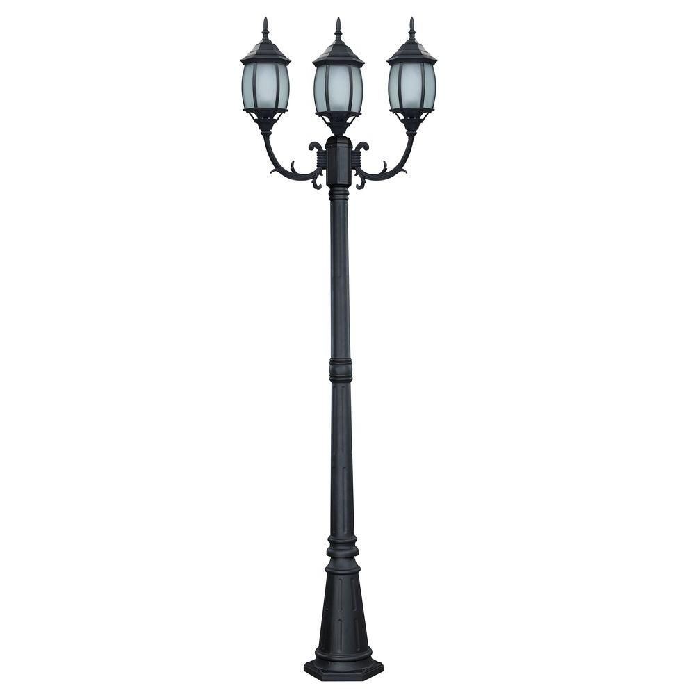 Hayden 3 light black outdoor post light with frosted glass glass canarm hayden 3 light black outdoor post light with frosted glass iol145bk hd aloadofball Image collections