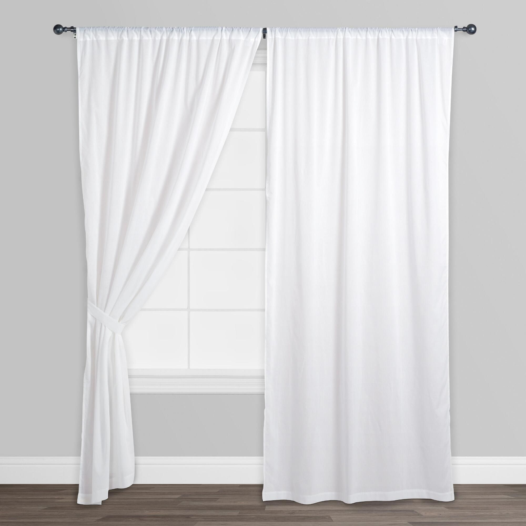 White cotton voile curtains set of diffused light ranges and