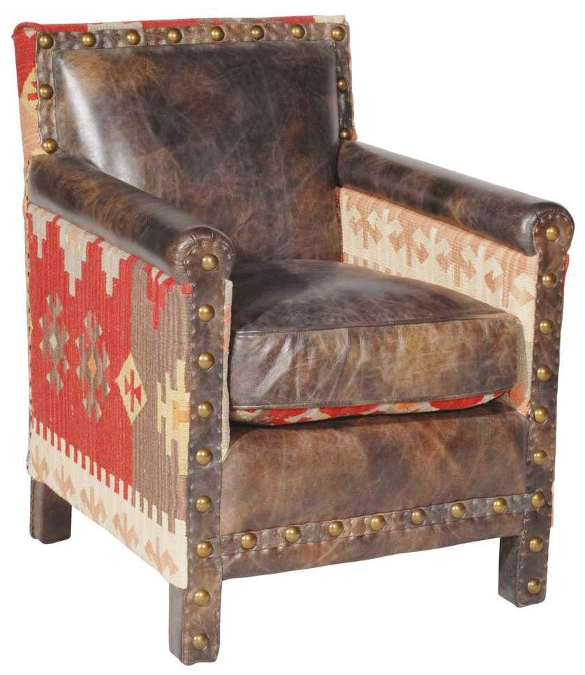 Beautiful Kilim And Leather Chair. ~ A Fab Leather Chair With Southwest  Design All Around, [jt] Gives A Luxurious Feel To A Home Styled In The Same  Rustic ...