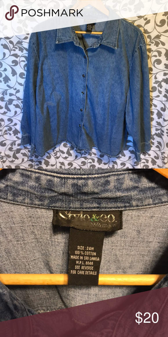 462449b2 Vintage denim shirt Vintage Style & Co. plus size 24 long sleeve denim  button up shirt. Classic design and classic addition to anyone's wardrobe.