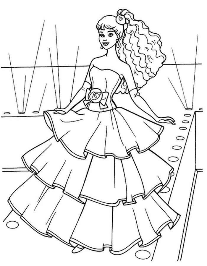 раскраски барби модница распечатать картинки Barbie