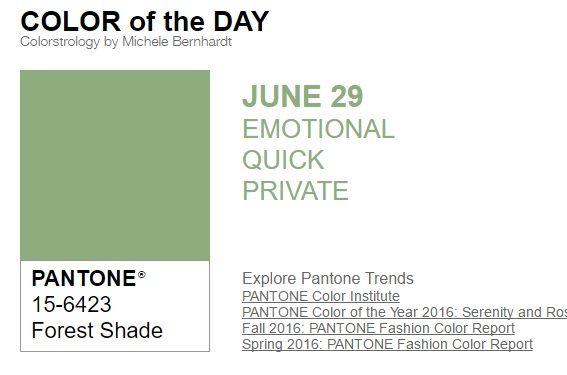 ...y el color de hoy es Sombra de Bosque, un color emocional, rápido, privado. Más info en http://www.pyma.com/tutoriales-y-trucos/y-los-colores-pantone-de-esta-semana-sonsemana-del-27-de-junio-al-3-de-julio/