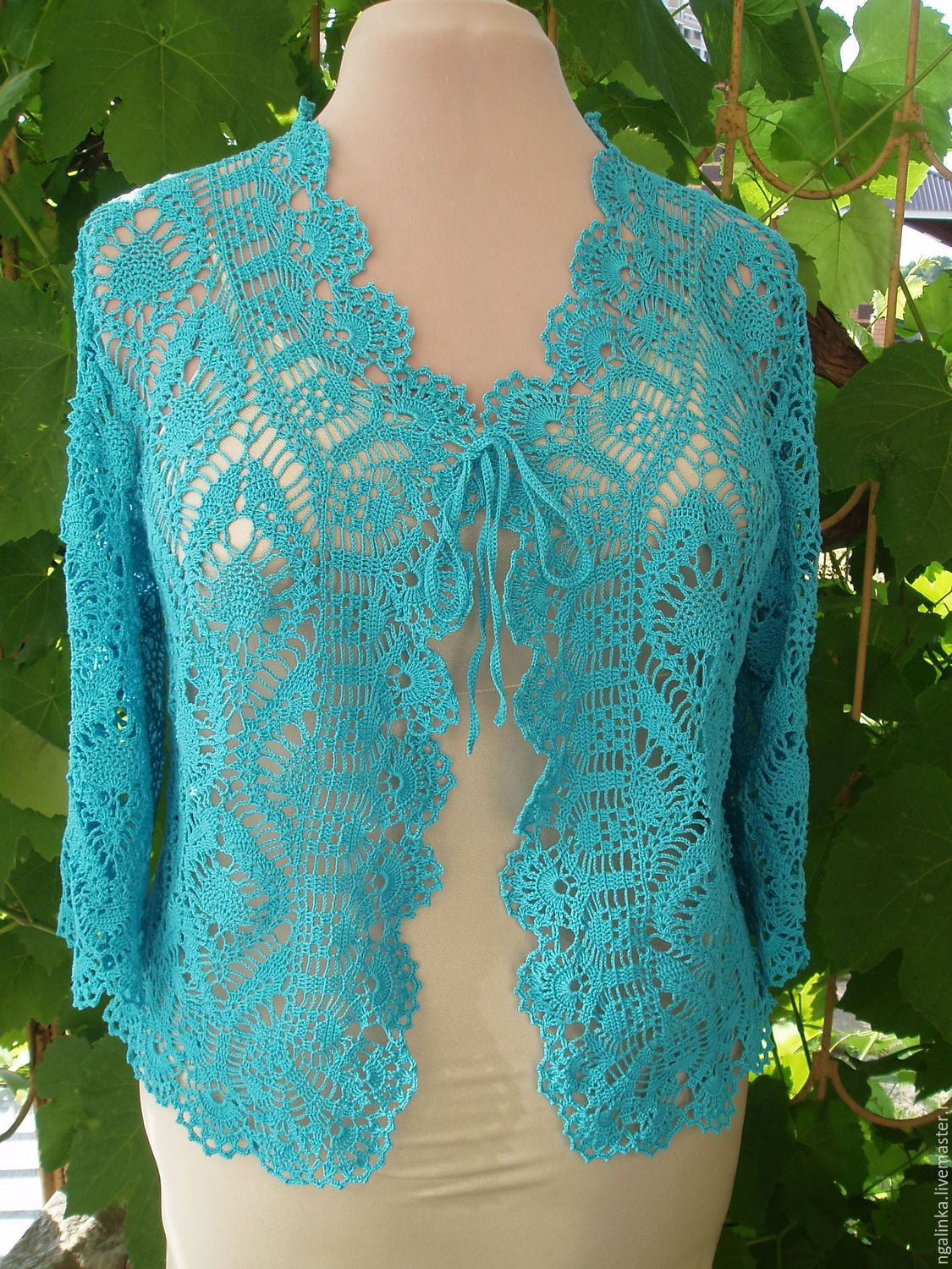 Photo of Buy a jacket made of cotton Pineapples – turquoise, black