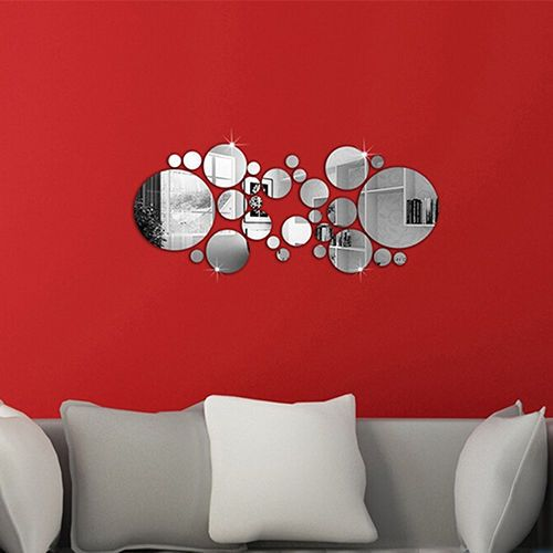 Removable round mirror style art wall stickers decal
