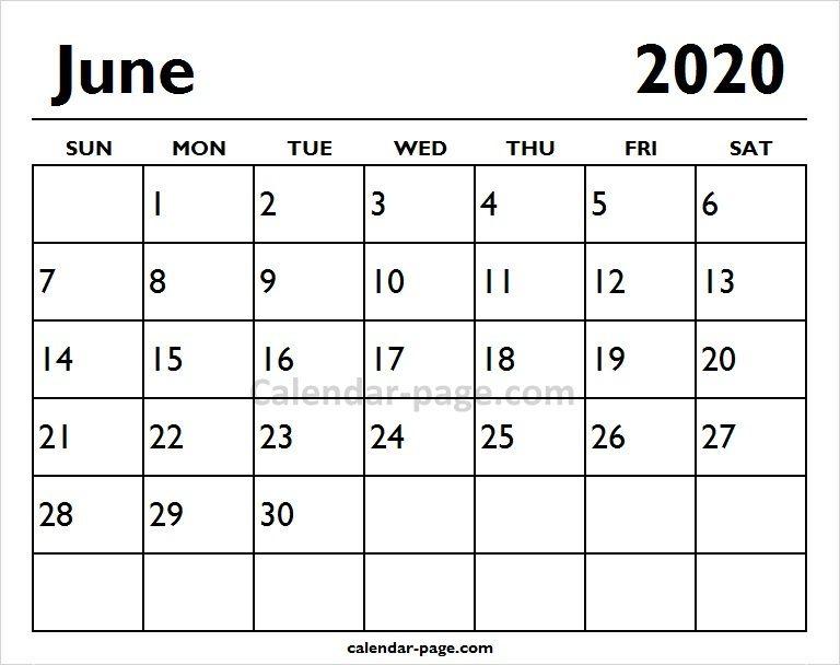 Calendar 2020 June 2020 June Printable Calendar Page | Blank Calendar | Printable
