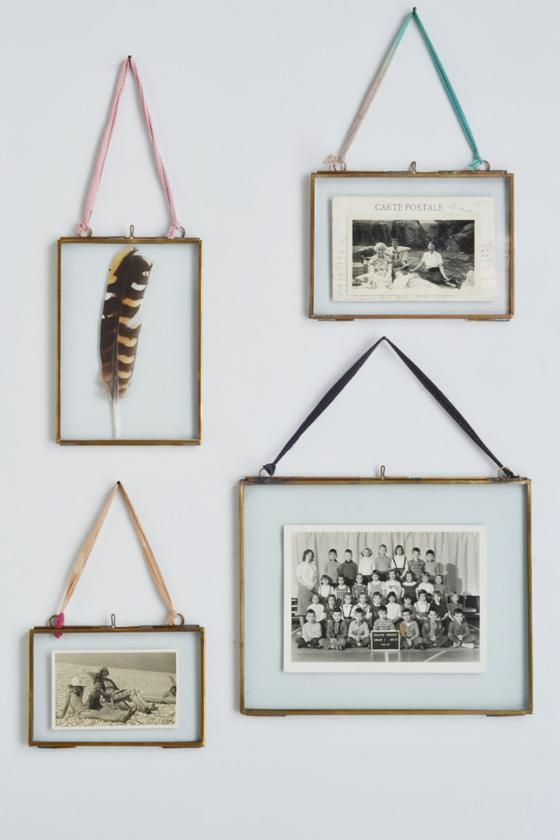 double sided picture frame hanging brass - Double Glass Frame