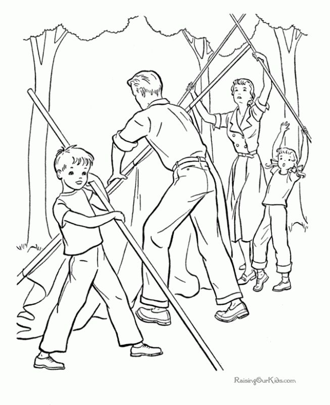 Working Together To Build A Tent For Camping Coloring Pages To