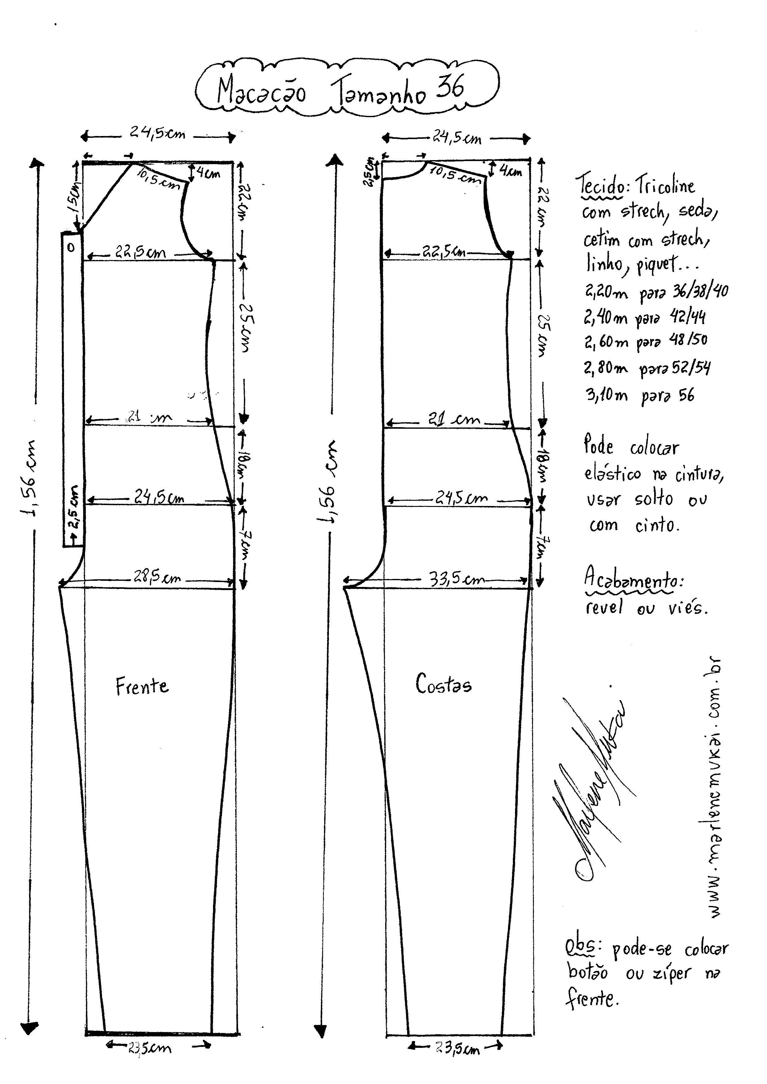 Macacão Longo | Pinterest | Mono, Patrones y Costura