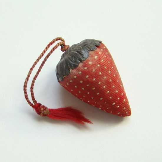 This is a 1800s Signed Strawberry Sewing Emery Sterling Silver Top Stitched Seeds. This is a gorgeous strawberry. Besides the ornate