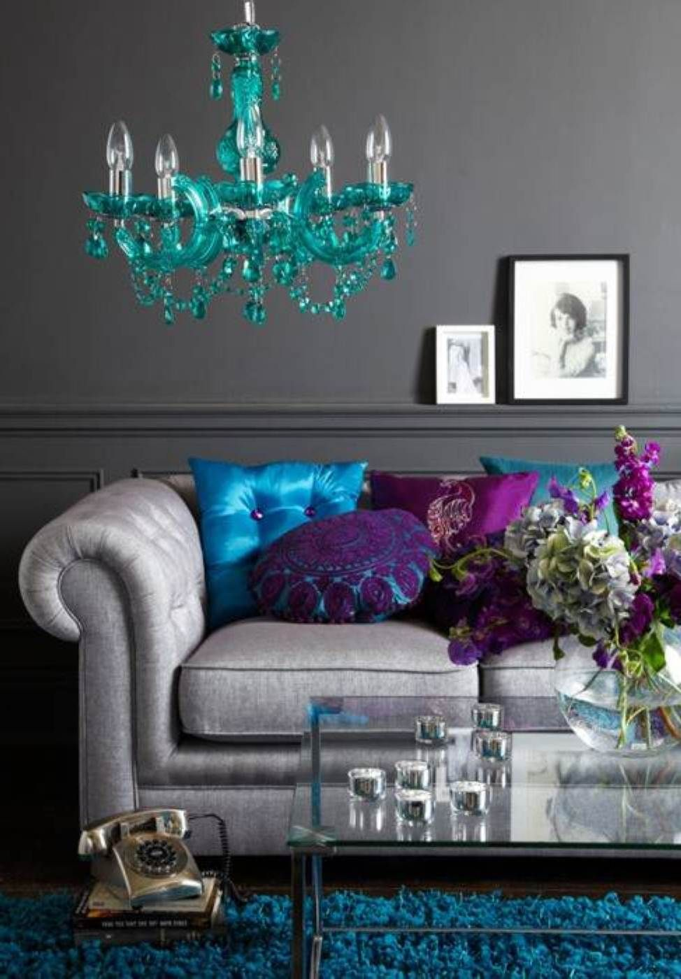 Teal and yellow living room - Grey Wall Color Feng Shui Living Room And White Sofa Color With Soft Blue Crystal Hanging