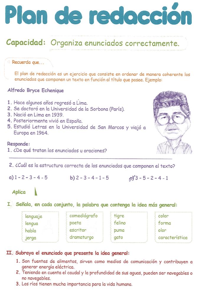 Razonamiento Verbal Cuarto Grado Primaria Plan De Redacción Recuerda Que El Plan De Razonamiento Verbal Ejercicios De Redaccion Lectura De Comprensión