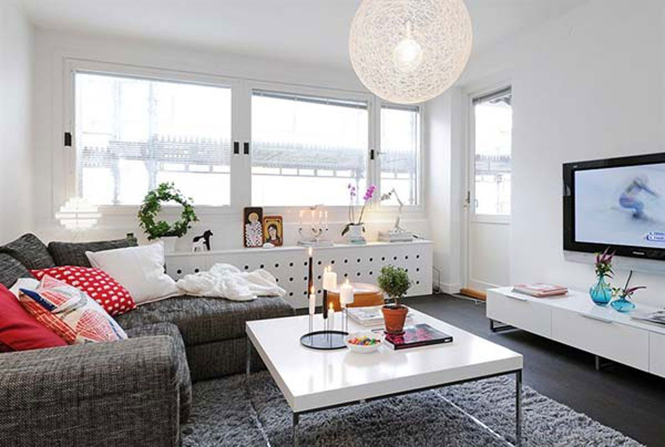 beautiful interior design of small apartment in 7 floor building