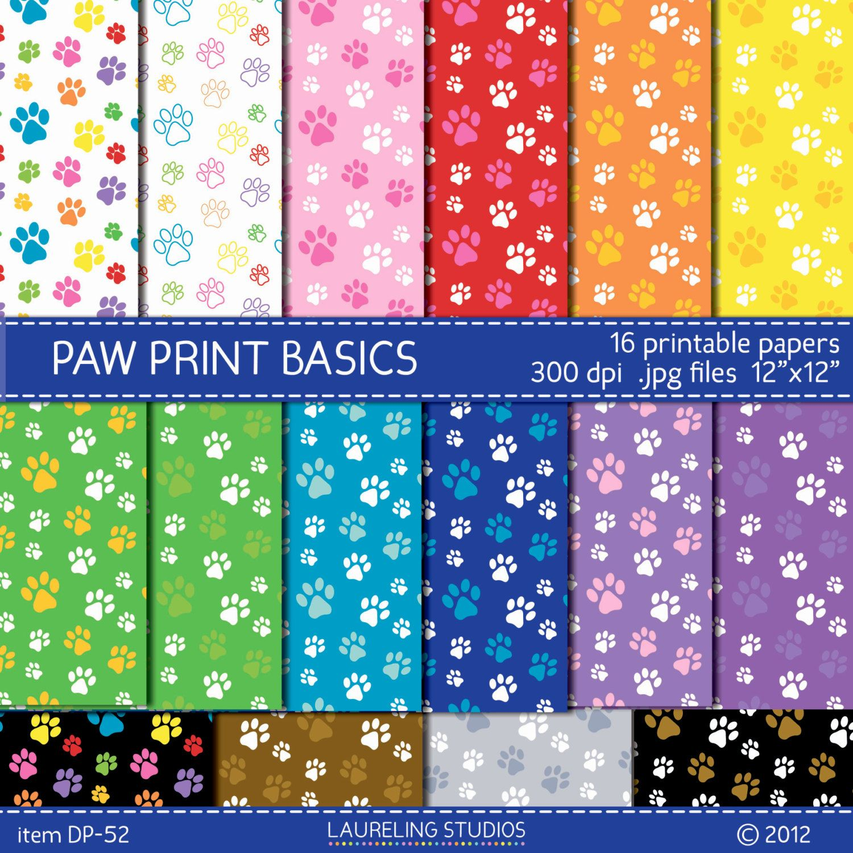 Scrapbook paper dogs - Dog Digital Paper With Paw Print Pattern Digi Scrap Paw Prints Pet Scrapbook Supplies Scrapbooking Digital Download Dp52