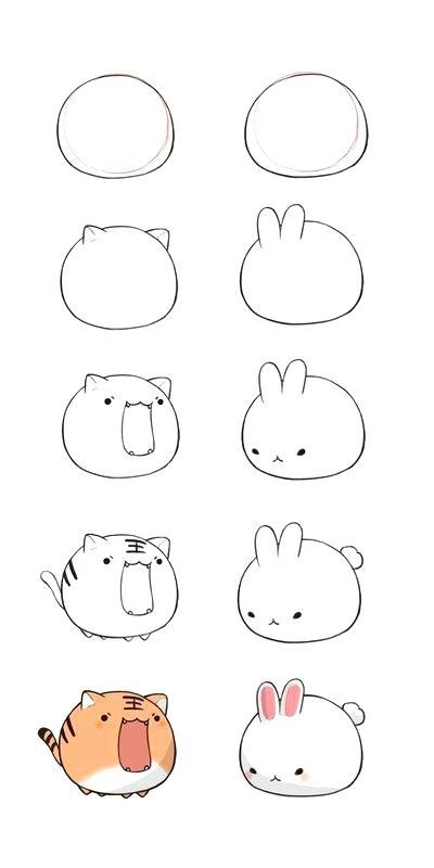 How To Draw A Kawaii Drawings Mas How To Draw Kawaii Animals Step By Step Easy Cartoon Drawings Cute Easy Drawings Animated Drawings