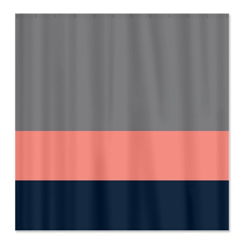 Custom Color Block Shower Curtain Titanium Grey Coral Navy OR Choose Colors