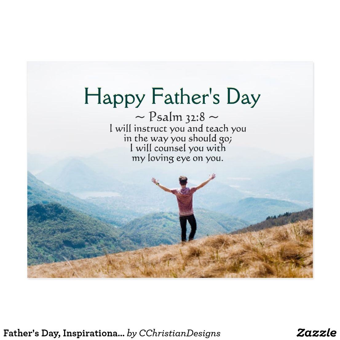 Father S Day Inspirational Bible Verse Psalm 32 8 Postcard