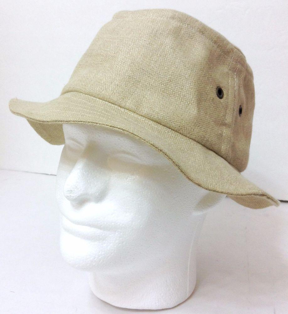 vtg ORVIS IRISH LINEN BUCKET HAT Beige Tan MADE IN IRELAND Mens Lrg (7-3 8 b05453865cc