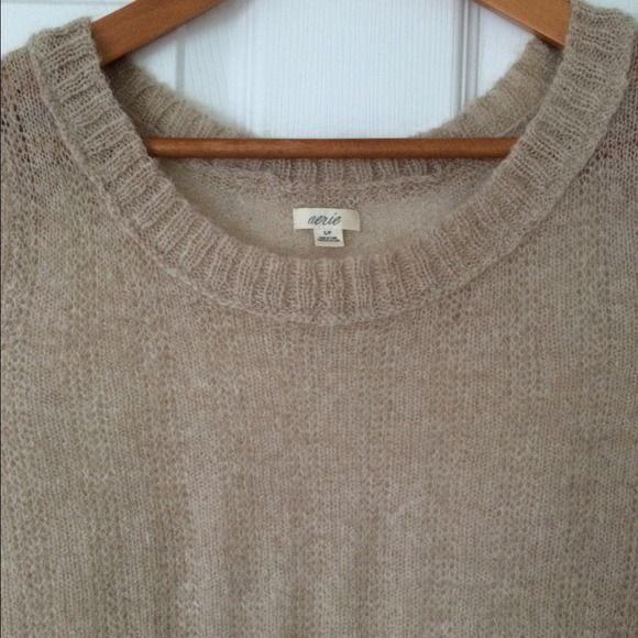 ff30b90ae AERIE AMERICAN EAGLE Loose Knit Tan Brown Sweater
